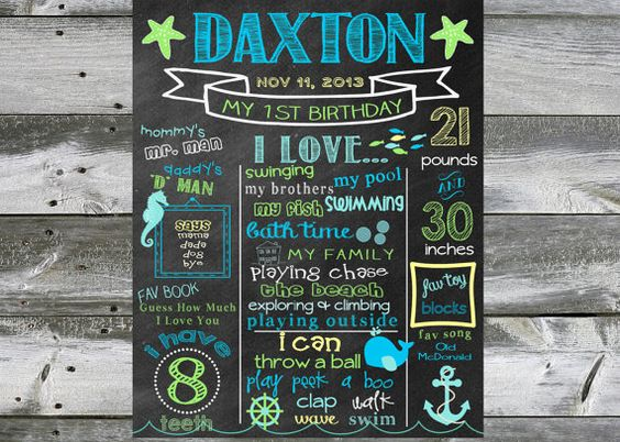 First Birthday Chalkboard - 100% CUSTOMIZED Poster Sign for Birthday Parties Printable - Sea Nautical - Baby's First Birthday - Boy or Girl on Etsy, $33.71 CAD