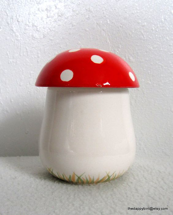 Bitty Toadstool Jar  Classic Red and White with by TheDappyBint, $12.95