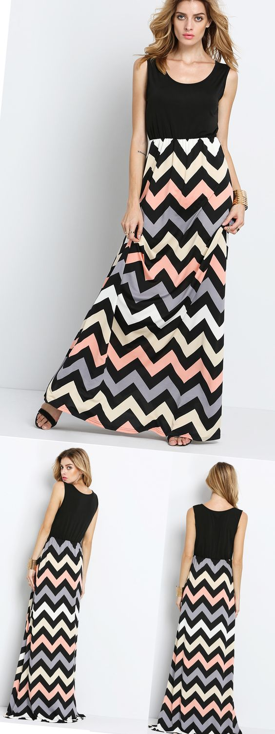 Glorious Scoop Neck Sleeveless Zigzag Dress. Super generous goddess maxi dress!Shop now for coming summer travel with up to 60% off !