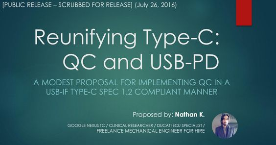 With the release of Android CDD (Re: Type-C) here's a presentation I made suggesting how to reunify QC3.0 with USB-PD https://drive.google.com/open?id=0B2OJRSgNnm4GQzBiMDlUTVZzU0U