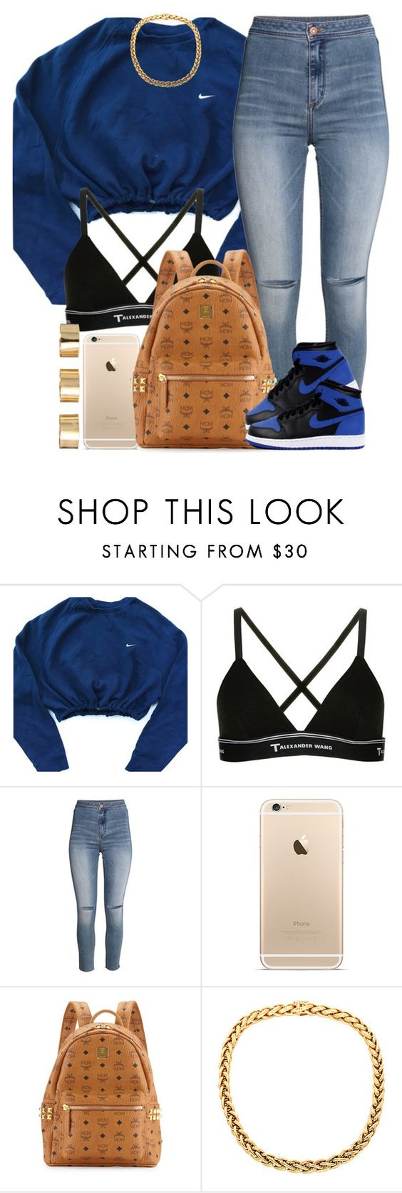 """""""Blue."""" by livelifefreelyy ❤ liked on Polyvore featuring NIKE, T By Alexander Wang, H&M, MCM and ASOS"""