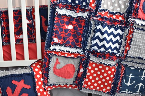 Custom Nautical Crib Bedding for Baby Boys Nursery in Red, Grey, and Navy Blue with applique anchors Pricing and Available Bedding Pieces can be viewed in the drop down menu. Pieces include: car seat