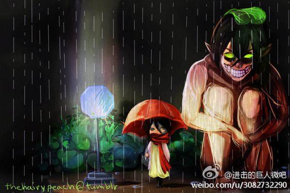 Attack on Titans in a Totoro Scene.