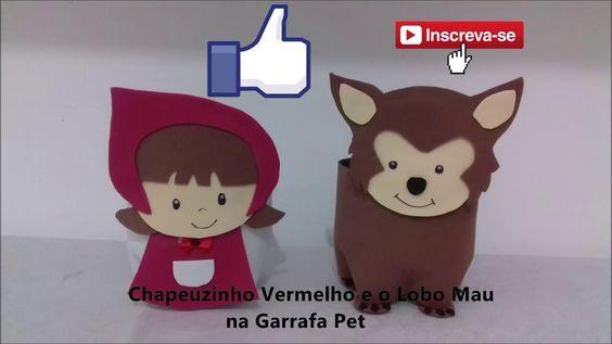 Chapeuzinho Vermelho E Lobo Mau Na Garrafa Pet Em Eva Com Molde E