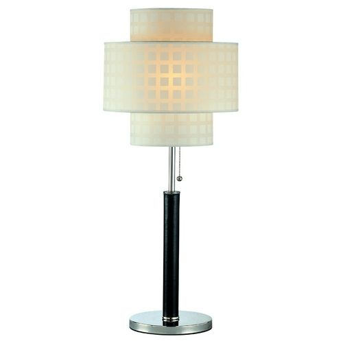 Lite Source Lighting Modern Table Lamp with White Shade in Leather Finish | LS-20290 | Destination Lighting