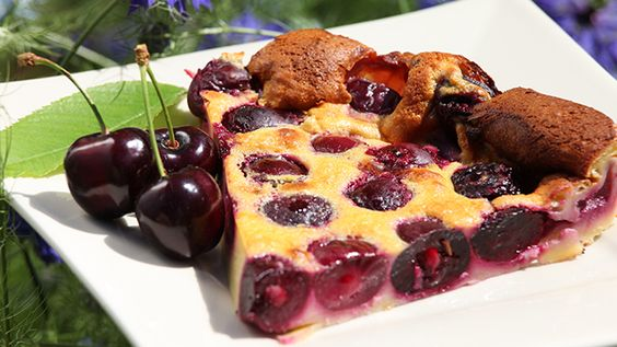 Cherry Clafouti, baked cherry almond custard