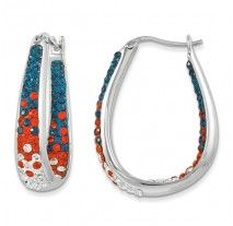 Spirit Collection- Blue, Orange, & White Team Colors Sterling Silver Swarovski Elements Spirit Earrings