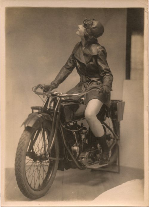 kdo:  Biker Chick: Circa the 1920's Eileen Percy on an Indian Motorcycle in an Ad for Fox Shoes. Photo by Charles Gates Sheldon (1920's)