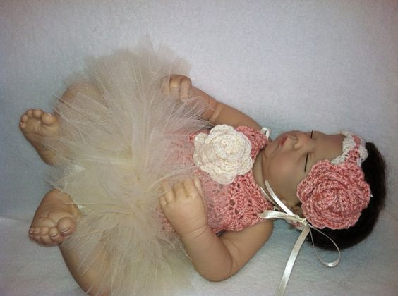 Infant Hand Crocheted Tutu Dress with matching by MarleyOcean, $40.00