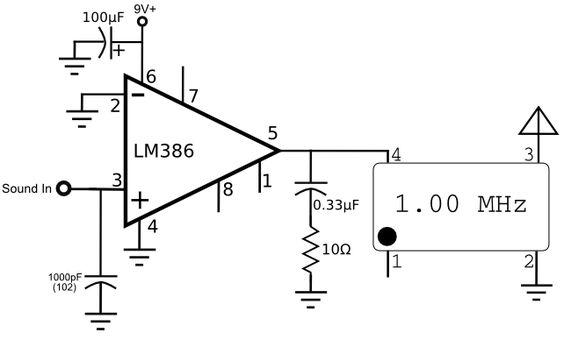 lm386 crystal oscillator am transmitter