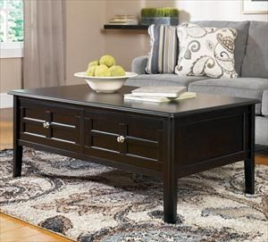 Nebraska Furniture Mart Ashley Almost Black Coffee Table With 2