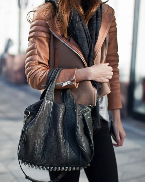 hers /// brown quilted leather jacket   black textured scarf