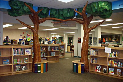 Elementary School Library Furniture Mural At Jerry Allen Elementary Library School Library
