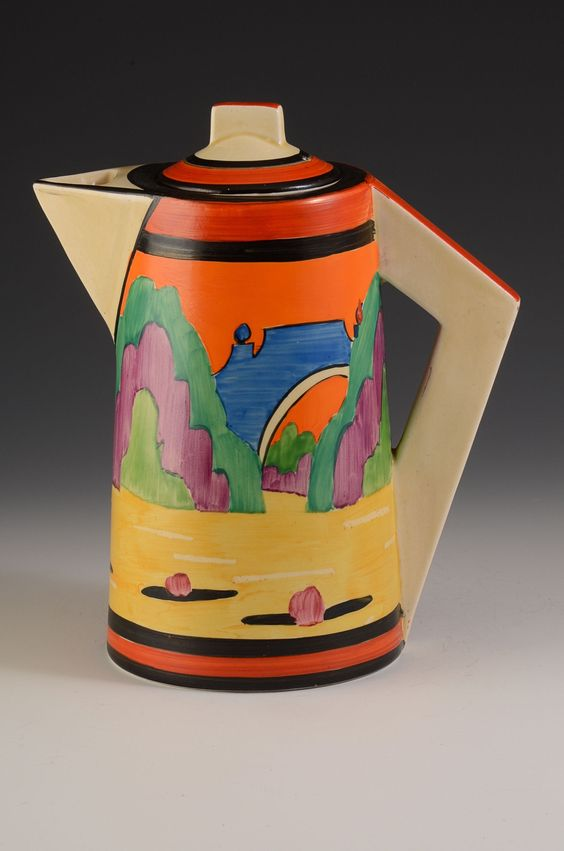 A fantastic and very rare conical coffee pot in Applique Avignon dating to 1930. A beautifully painted example with deep rich colouring and a full version of the pattern. with it's trademark black and red banding this really is an eye-catching piece