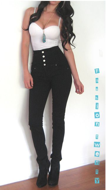 Details about BLACK HIGH WAIST SKINNY STRETCH DARK DENIM JEANS ...