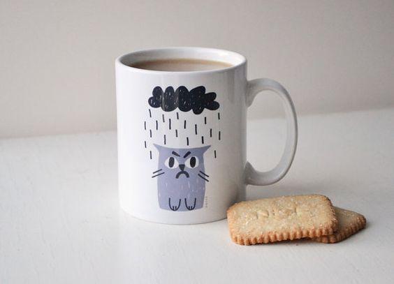 Mug chat grincheux en gris et charbon par miristudio sur Etsy