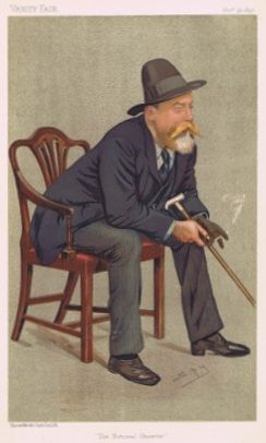"Portrait of William Ernest Henley by Leslie Ward published in Vanity Fair 26 November 1892. Henley's entire reputation as a poet rests on ""Invictus."""