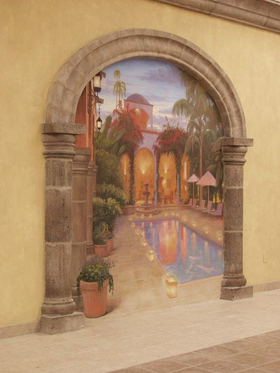Murals living rooms and pools on pinterest - Trompe oeil mural ...