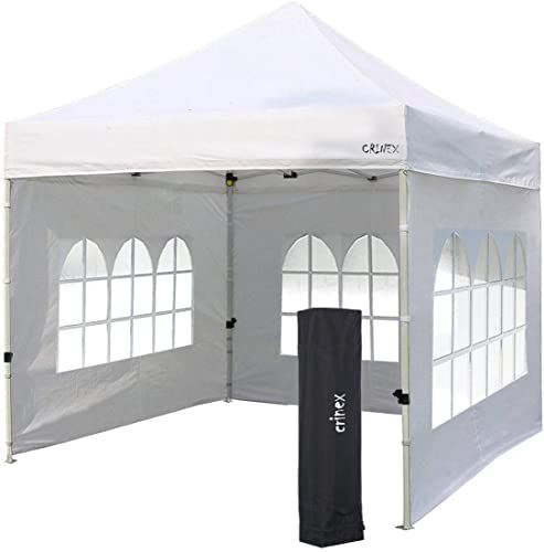 Buy Crinex 10x10 Canopy Tent White Pop Up Portable Shade Instant Folding Outdoor Gazebo Canopy Tent 3 Removable Side Walls Black Carry Bag Online Totopprem In 2020 Gazebo Canopy 10x10 Canopy Tent Gazebo