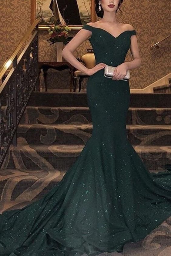 Sparkly Mermaid V Neck Long Prom Dress
