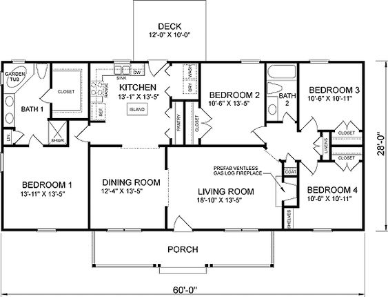Plan 46022hc craftsman home with master sitting room for Floor plans for 4 bedroom ranch house