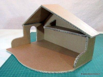 Tutoriel cr che de no l en carton patron offert cartonnage noel creche de noel et deco noel - Fabrication maison en carton ...