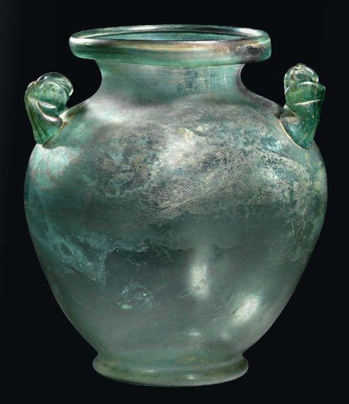 A Roman glass cinerary urn,1st-2nd century A.D.