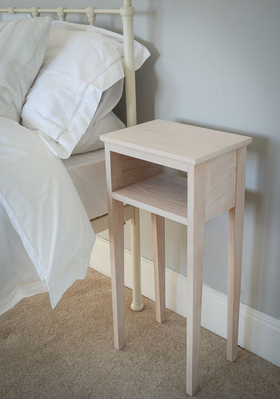 Small bedside tables apartment pinterest small Simple bedside table designs
