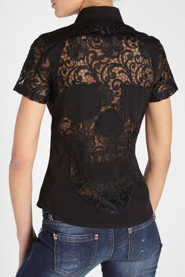 'Precious Lady' Skull black denim shirt