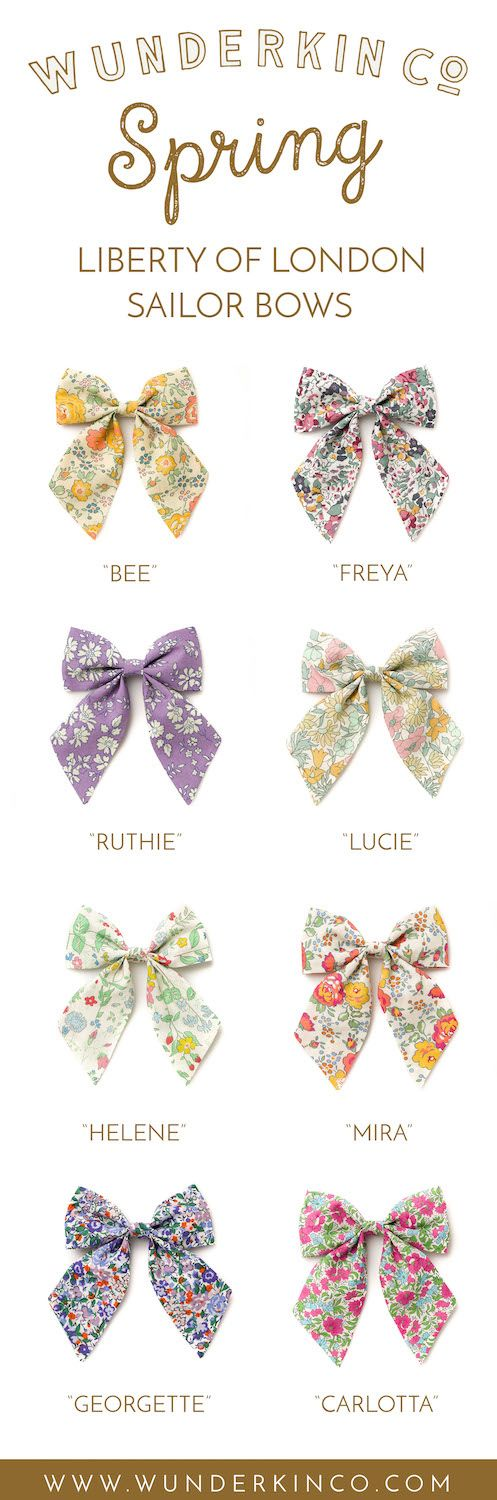 Click to shop handcrafted Liberty of London hair bows by Wunderkin Co. The perfect hair bow to embolden your baby's, toddler's or little girls free spirit and individual style. Handmade by moms in the USA and guaranteed for life. // Liberty of London Sailor Bows.