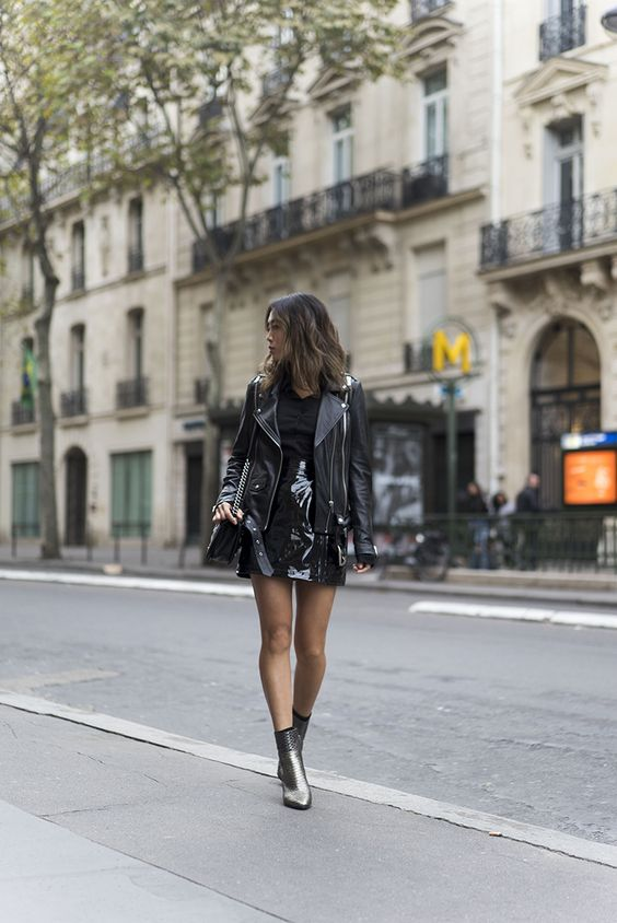 Black Leather Moment in Paris | Song of Style