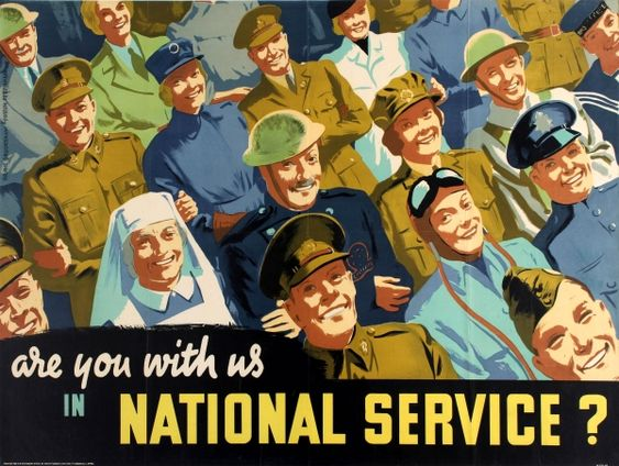 BRITISH WW II.....Are You With Us in National Service WWII Home Front £650.00 Original vintage British propaganda poster: Are you with us in National Service? Colourful image showing smiling men and women in uniform looking up to the viewer with their arms linked together, including military officers, soldiers, pilots, sailors, Home Front guards and nurses with the text below in white and yellow stylised letters. 16