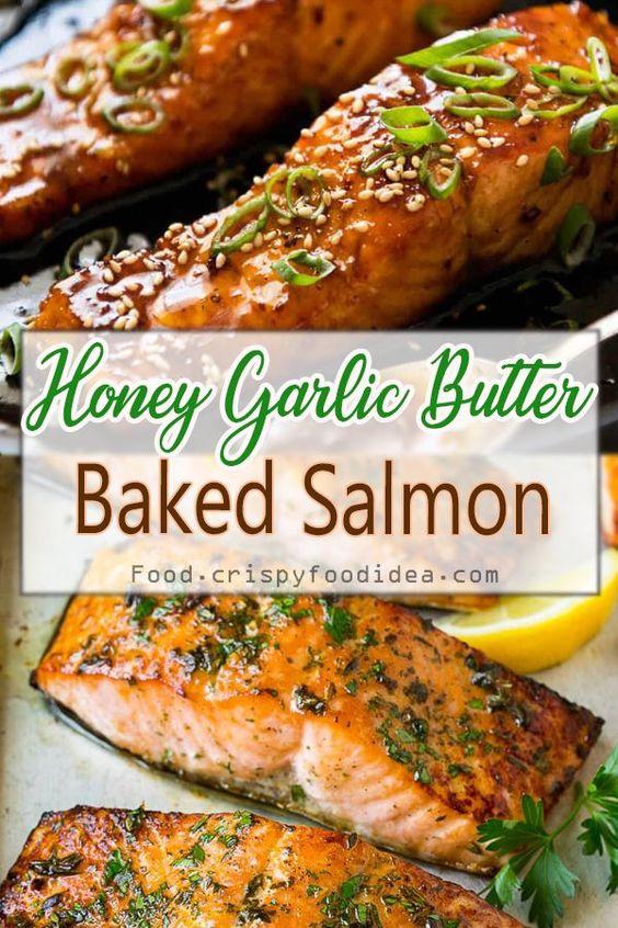 Honey Garlic Butter Baked Salmon - Keto fish meals