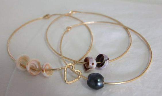 set of 3 shell and pearl bangle16 guage 14K gold by SummerLoveHI, $70.00