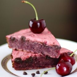 This is healthy?! YUP! Cherry Chocolate Chunk Blondie Wedges with Cherry Frosting #foodgawker