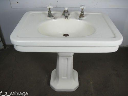 Antique Vintage Jl Mott Pedestal Sink Valcour 34x24