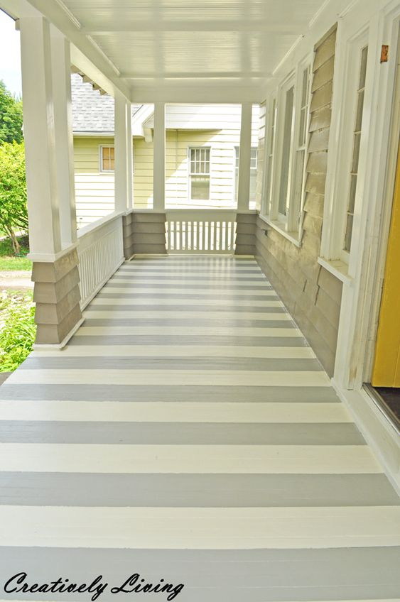 Front porches painted stripes and porches on pinterest for Painted deck pictures