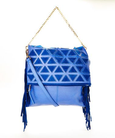 Take a look at this Blue Patchwork Fringe Shoulder Bag on zulily today!
