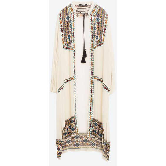 HAND EMBROIDERED KAFTAN (£115) ❤ liked on Polyvore featuring tops, tunics, caftan tunic, white tunic, white top, kaftan tops and white kaftan tunic
