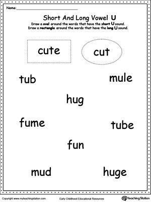 Number Names Worksheets short vowel sound worksheets for first grade : Long And Short Vowel Sounds Worksheets - Pichaglobal