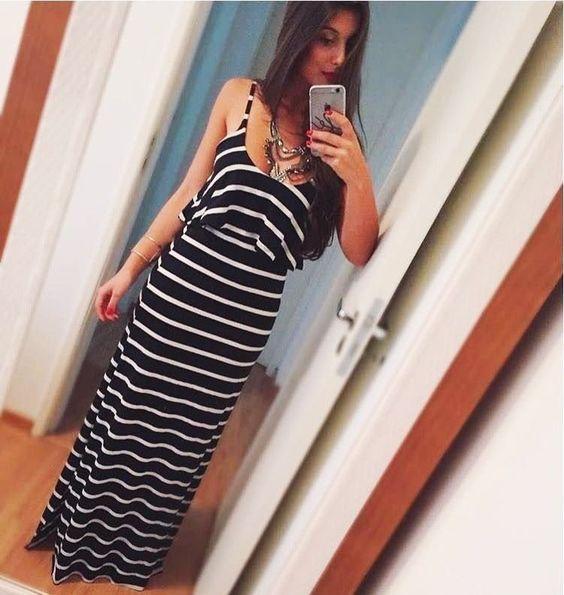 Vestido de Babado Listrado Fundo Preto Devine - Devine Moda Feminina