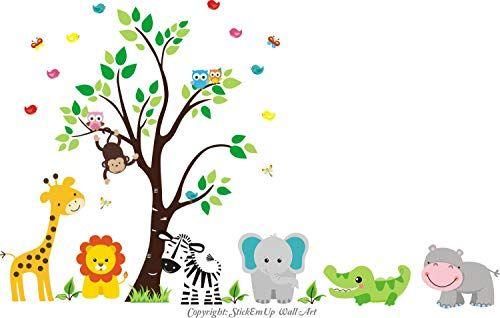 Best Seller Zoo Animal Wall Stickers Zoo Animal Mural Nursery Print Safari Animal Wall Decals Jungle Wall Stickers Large Animal Decals Nursery Room K In 2020