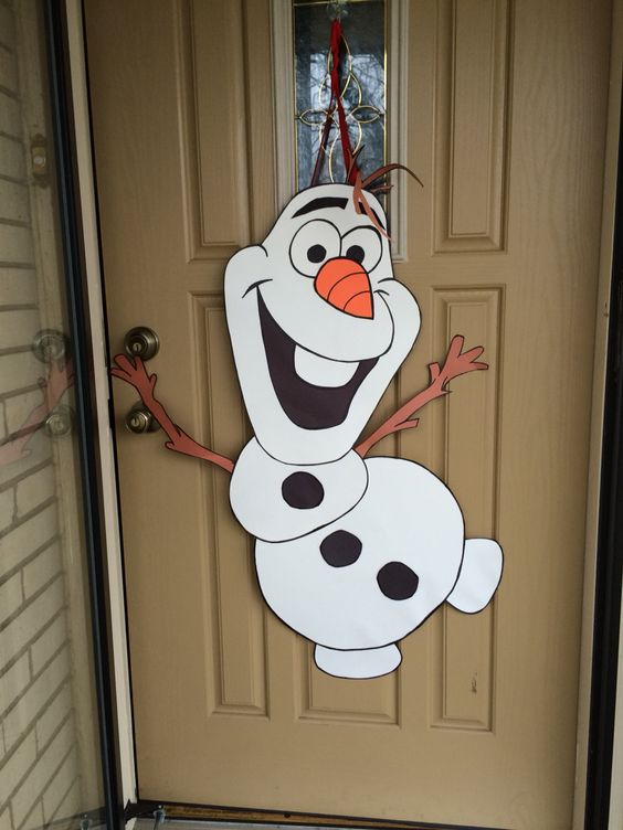 Olaf Door Decoration Made From Poster Board Construction