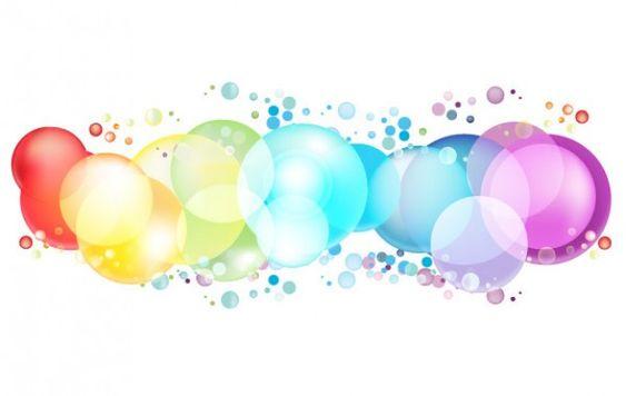 Burbujas redondeadas en color del arco iris Vector Gratis