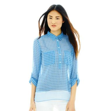 Joe Fresh™ Long-Sleeve Print Popover Blouse  found at @JCPenney