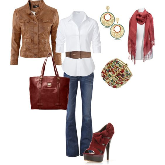 Warm Tones...brown and red w/a classic white shirt....gorgeous