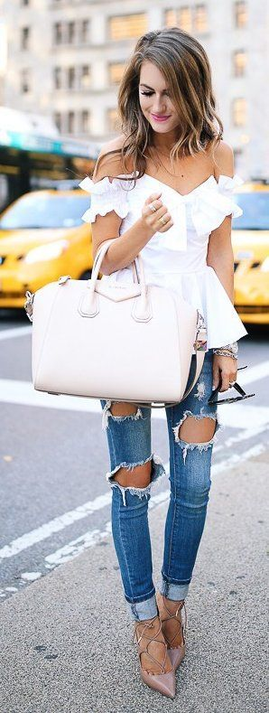 #winter #fashion /  White Off Shoulder Top + Cream Leather Bag + Destroyed Skinny Jeans