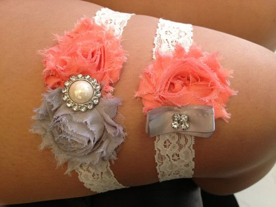 ON SALE - Coral / Grey Wedding Garter Set - Ivory Stretch Lace - Rhinestone Detail..., $18.00
