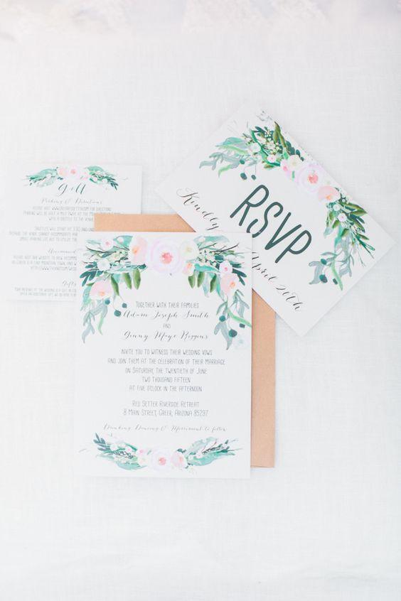 Floral watercolor paper suite: http://www.stylemepretty.com/arizona-weddings/greer/2015/09/14/rustic-romantic-arizona-summer-wedding-2/ | Photography: Andrew Jade - http://andrewjadephoto.com/