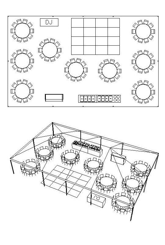 30 X 50 Tent For 90 People With Bar Buffet Dj Dance Floor Floor Plan For Tent For O Wedding Reception Layout Wedding Table Layouts Outdoor Tent Wedding